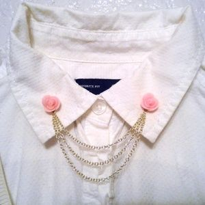 Pink Rose Collar Pins Collar Chain Sweater Clips